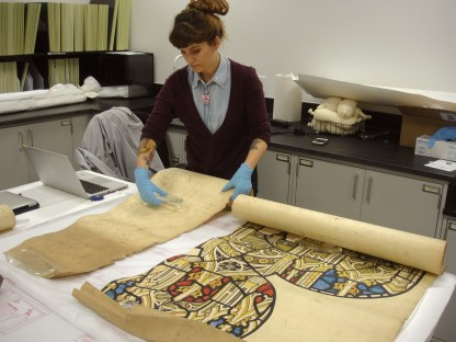 Nicole cleaning a Whitefriars cartoon.