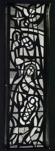 """An """"After Treatment"""" photograph of the silver gelatin photograph with applied black painted media depicting the cement matrix (170cm x 51cm)"""