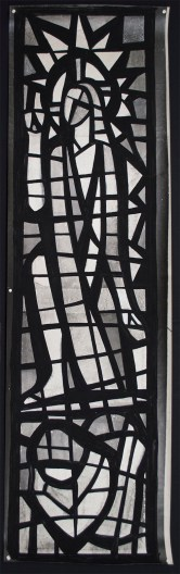"An ""After Treatment"" photograph of the silver gelatin photograph with applied black painted media depicting the cement matrix (170cm x 51cm)"