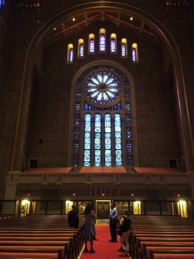 Interior of Temple Emanu-El, New York City, view of the west facing windows.