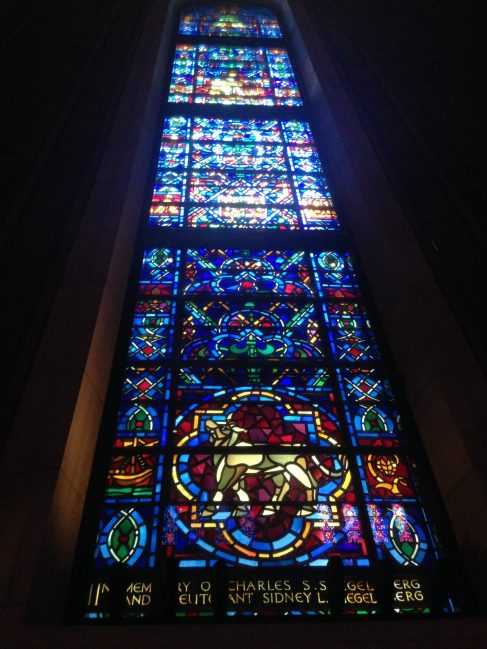 Three tall stained glass windows made by Whitefriars in Temple Emanu-El, New York City.