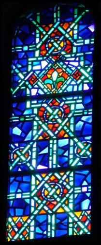 Stained glass window and paper cartoon from Temple Emanu-El, New York City. BIB#163463.