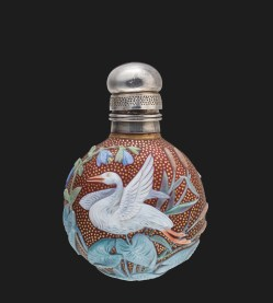 Cameo Scent Bottle with Swan and Christmas Rose