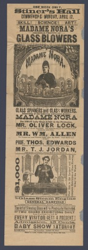 Advertisement for glassworking troupe