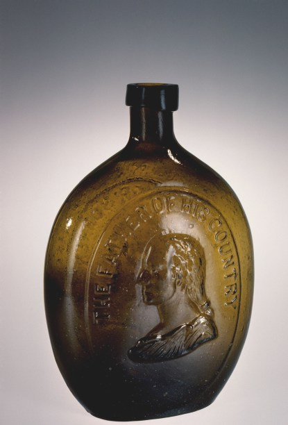 Whiskey Flask with Portraits of Washington and Taylor