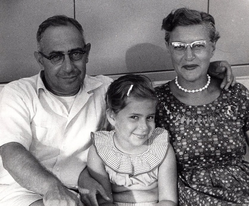 Roberta with her parents, Francis and Esther, about 1956.