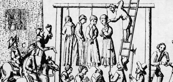 Women being hung for witchcraft