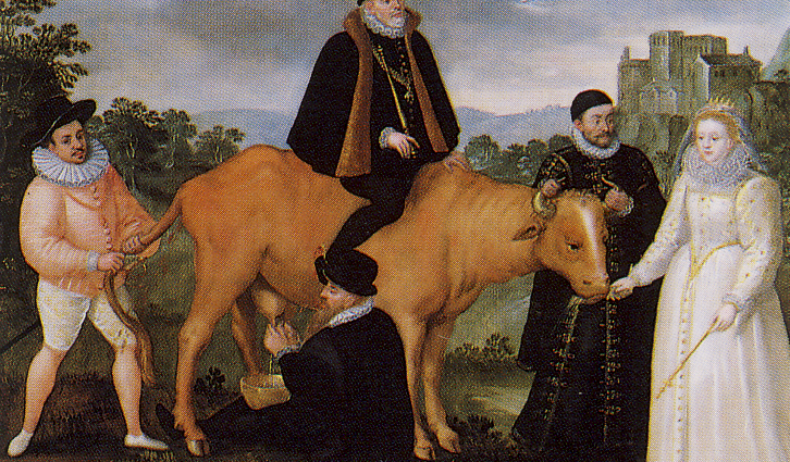 Queen Elizabeth I of ENgland Feeds the Dutch Cow, 16th century painting
