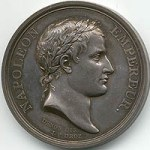 Medalion of Napoleon wearing laurel leaves