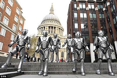 """Cybermen coming out of St. Paul's in """"Death in Heaven."""""""