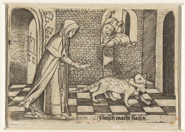 Nun bribing cat for a penis