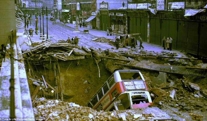 Bus in Crater, London Blitz
