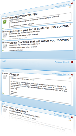 Create your course as a series of actions, worksheets and more sprinkled across a timeline.