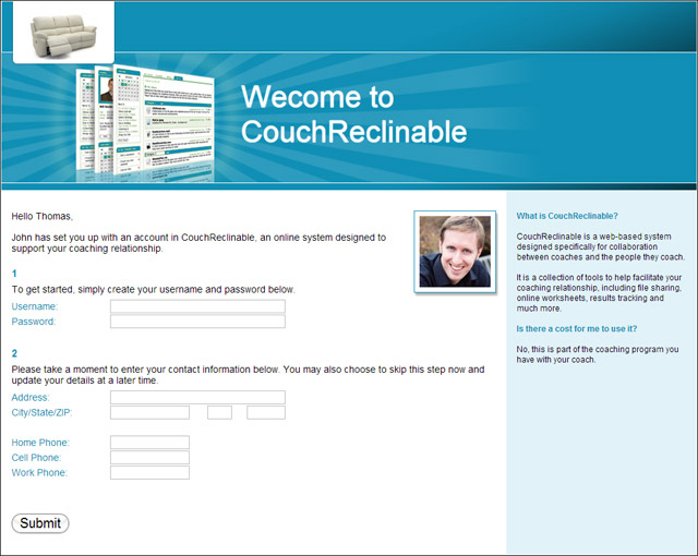 The client sign up page: their first experience with your coaching software.