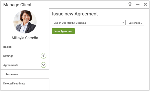 Issue a new client Agreement