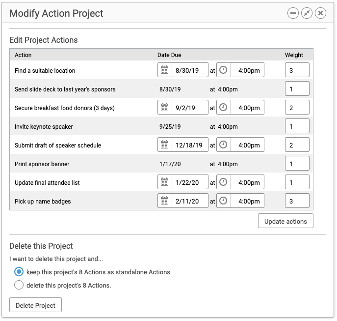 Modify details of a Group Action Project