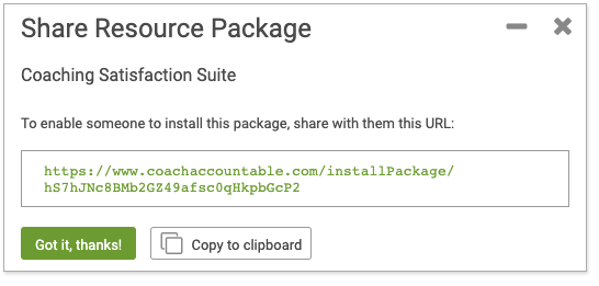 Share a Resource Package