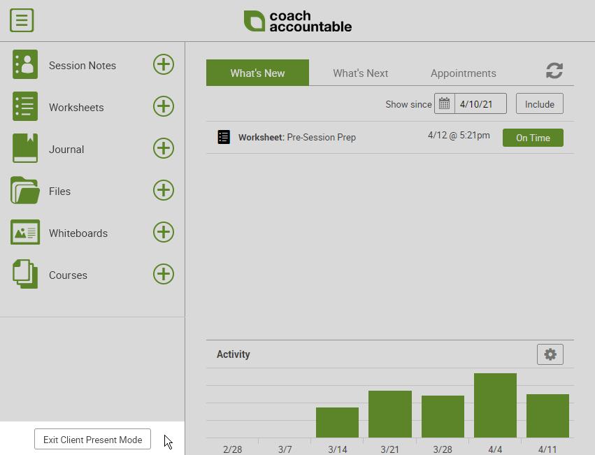 Client Present Mode - active