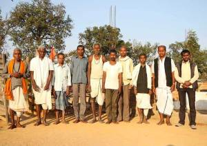 Indian men pose in the village