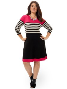 eliza-j-striped-fit-and-flare-dress-with-pink-accent