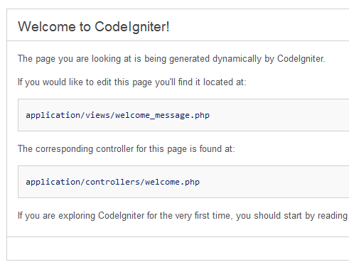 Codeigniter default welcome screen