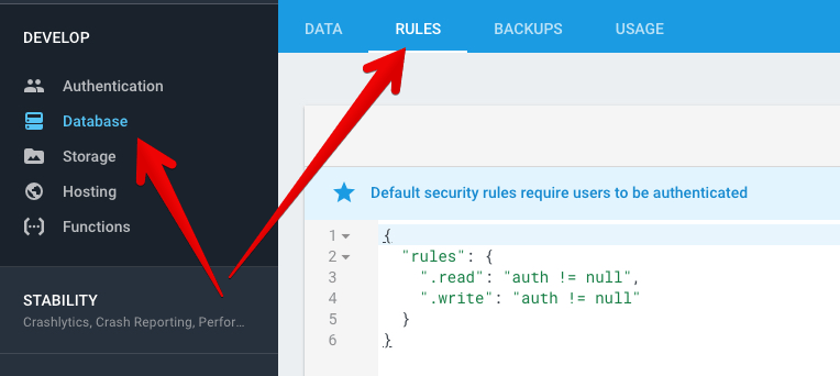 Show Database Rules location in Firebase Console