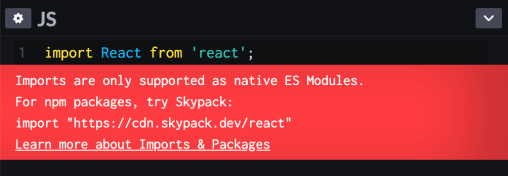 The JavaScript editor on CodePen displaying an error message about import usage.