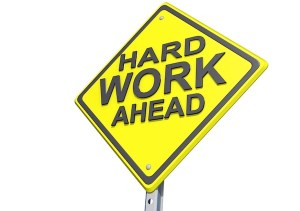 Hard Work Ahead Yield Sign White Background