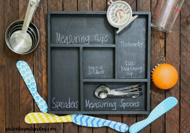 Keep utensils in a chalkboard divider