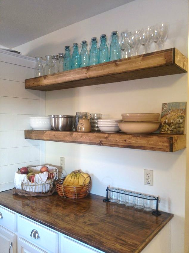 Put up inexpensive shelves for bulky items