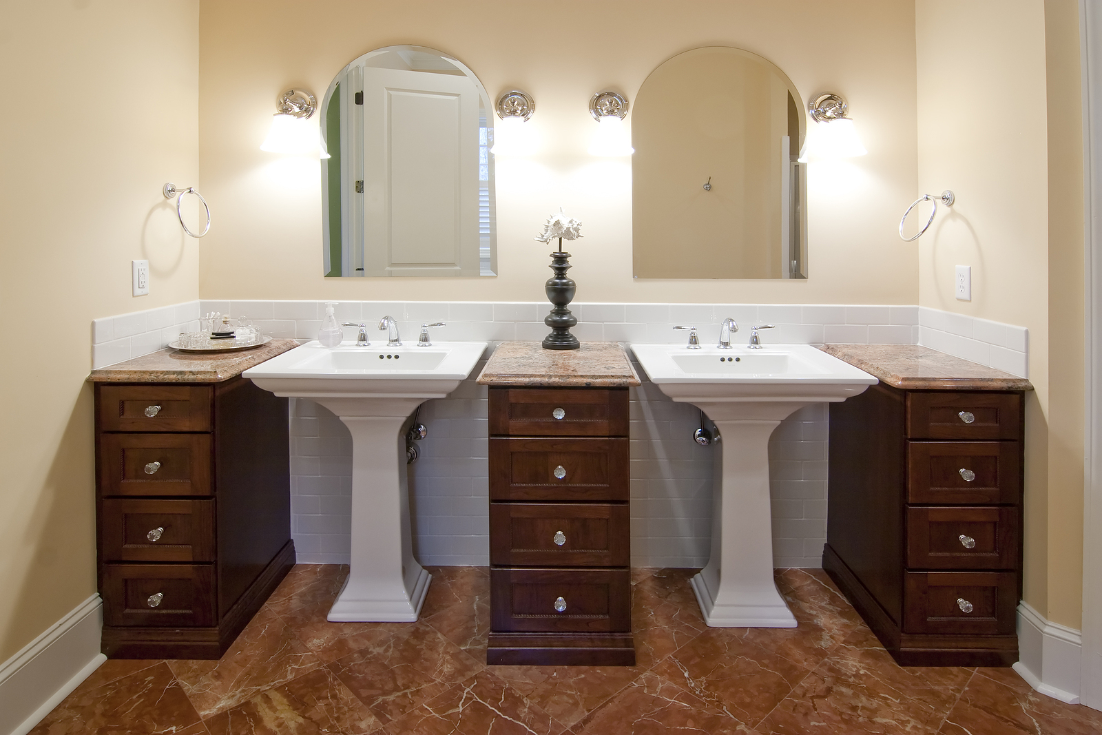 double sinks in luxury bathroom
