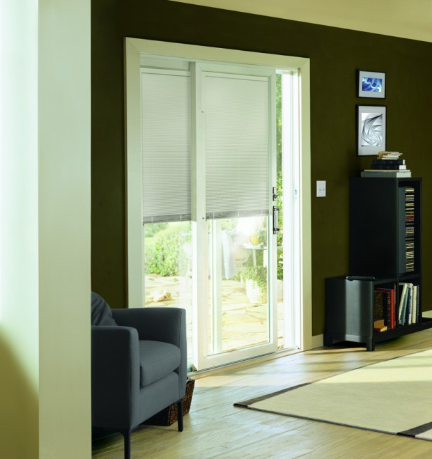 200 Series Perma-Shield Patio Door with Blinds Between the Glass Option and Anvers Satin Nickel Hardware