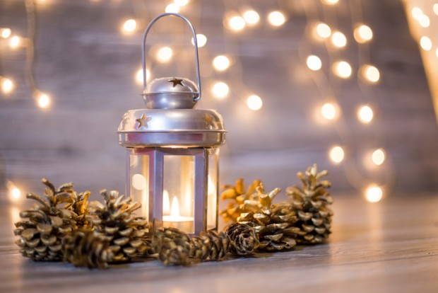 Christmas lantern with pinecones