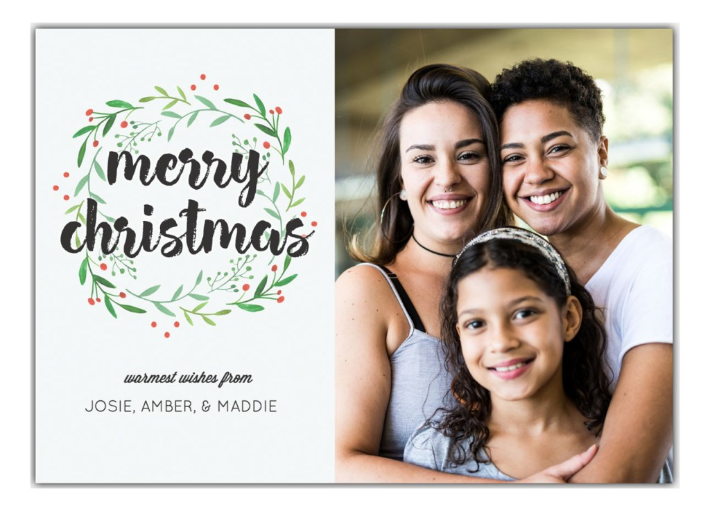 Merry Christmas card with photo of two moms with daughter