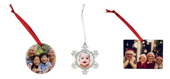 3 photo holiday ornaments on white background