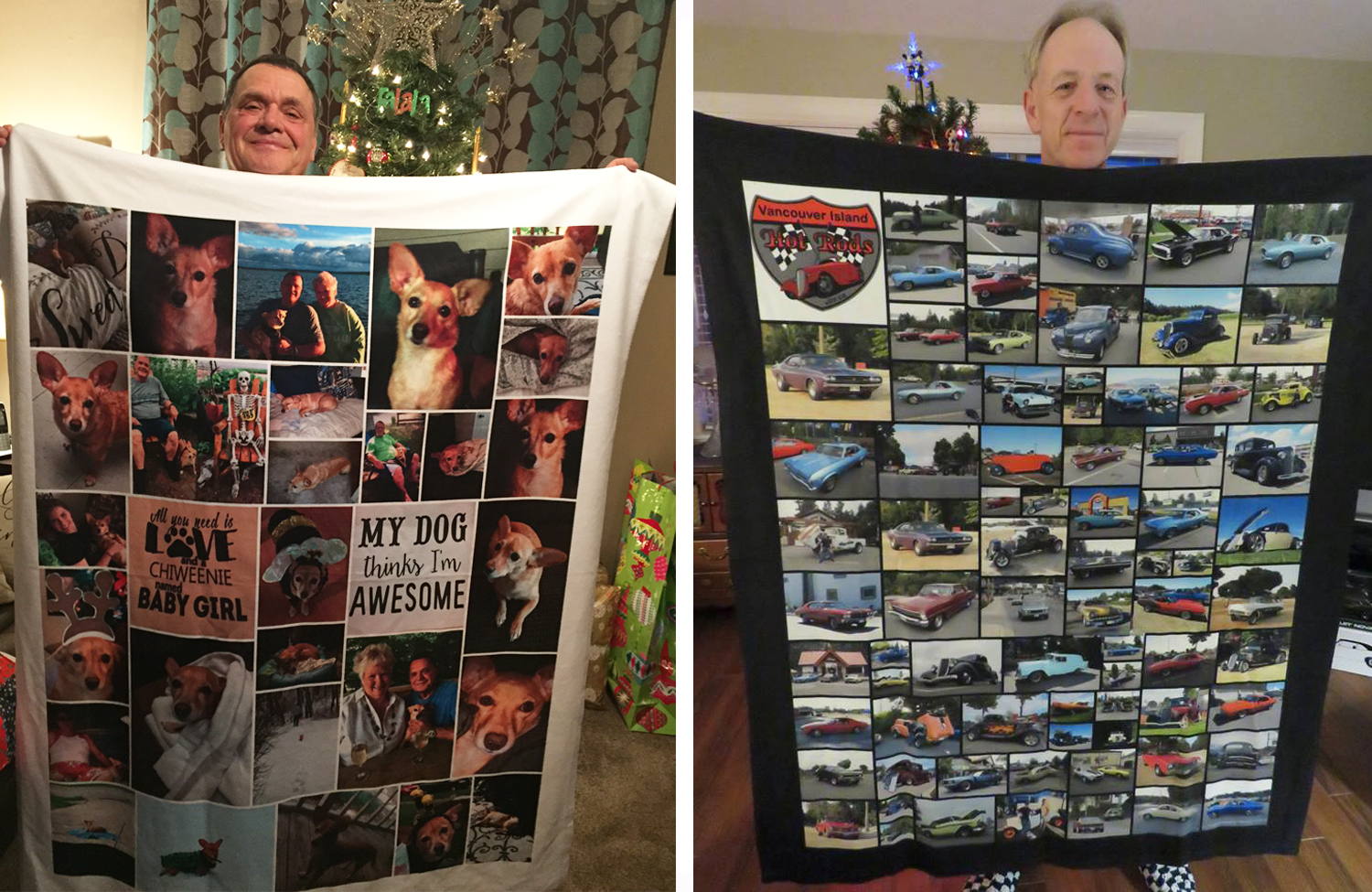 Two men holding up a photo blanket gift | Gifts for him