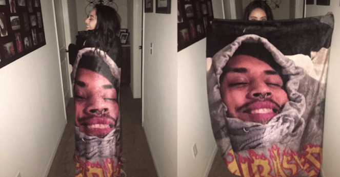 Photo blanket with picture of mans face