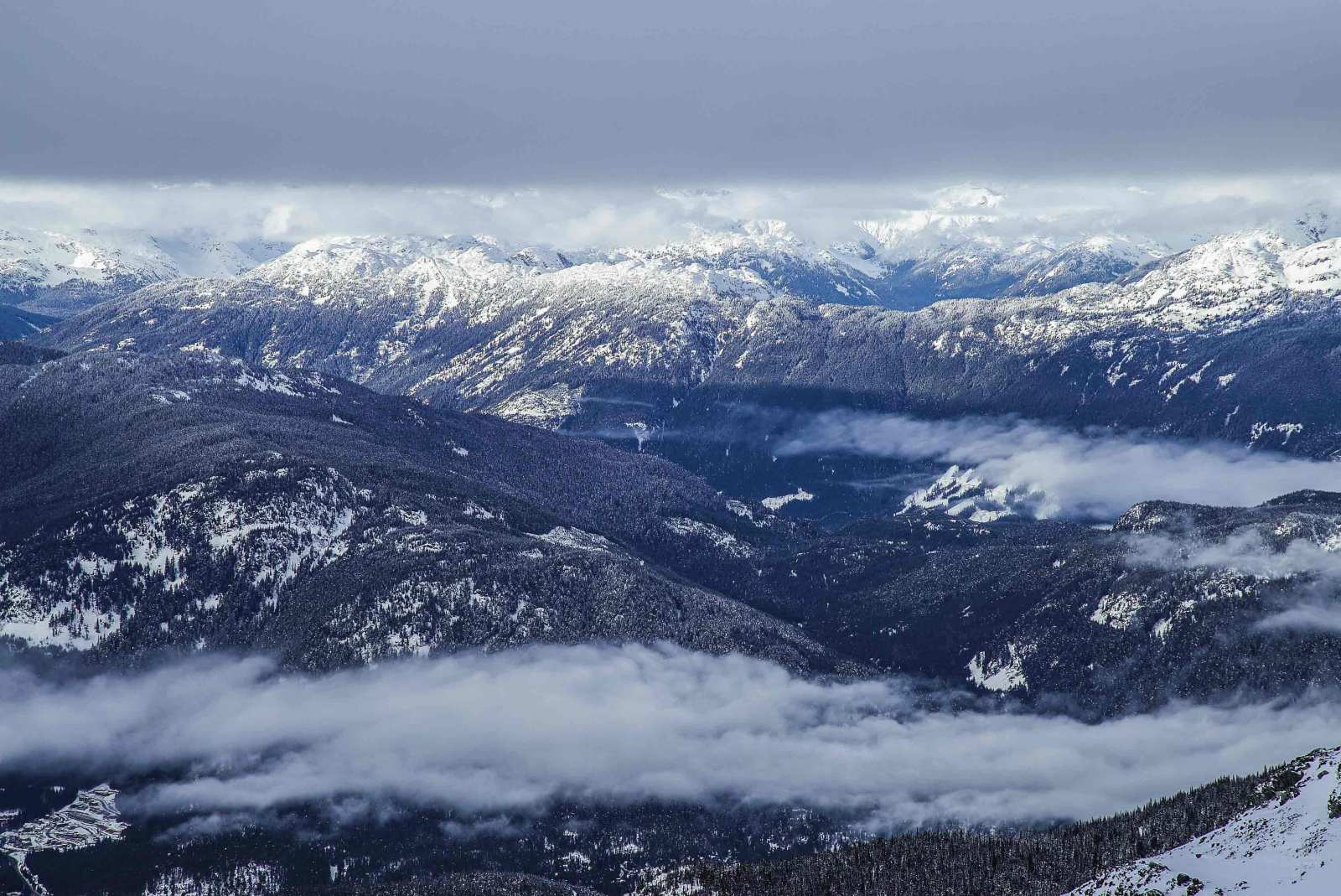 mountain range in the spring