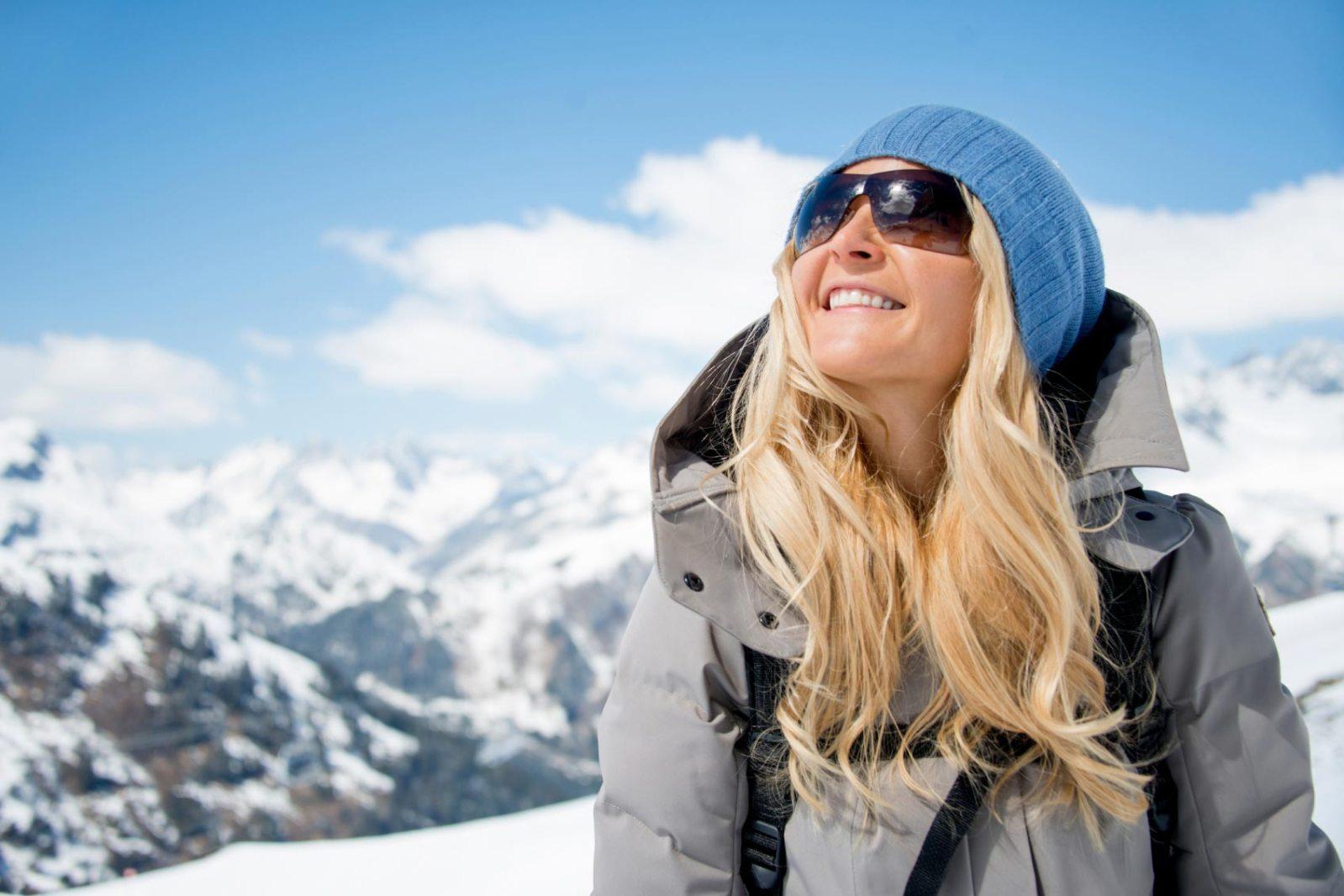 Woman enjoying her winter holidays