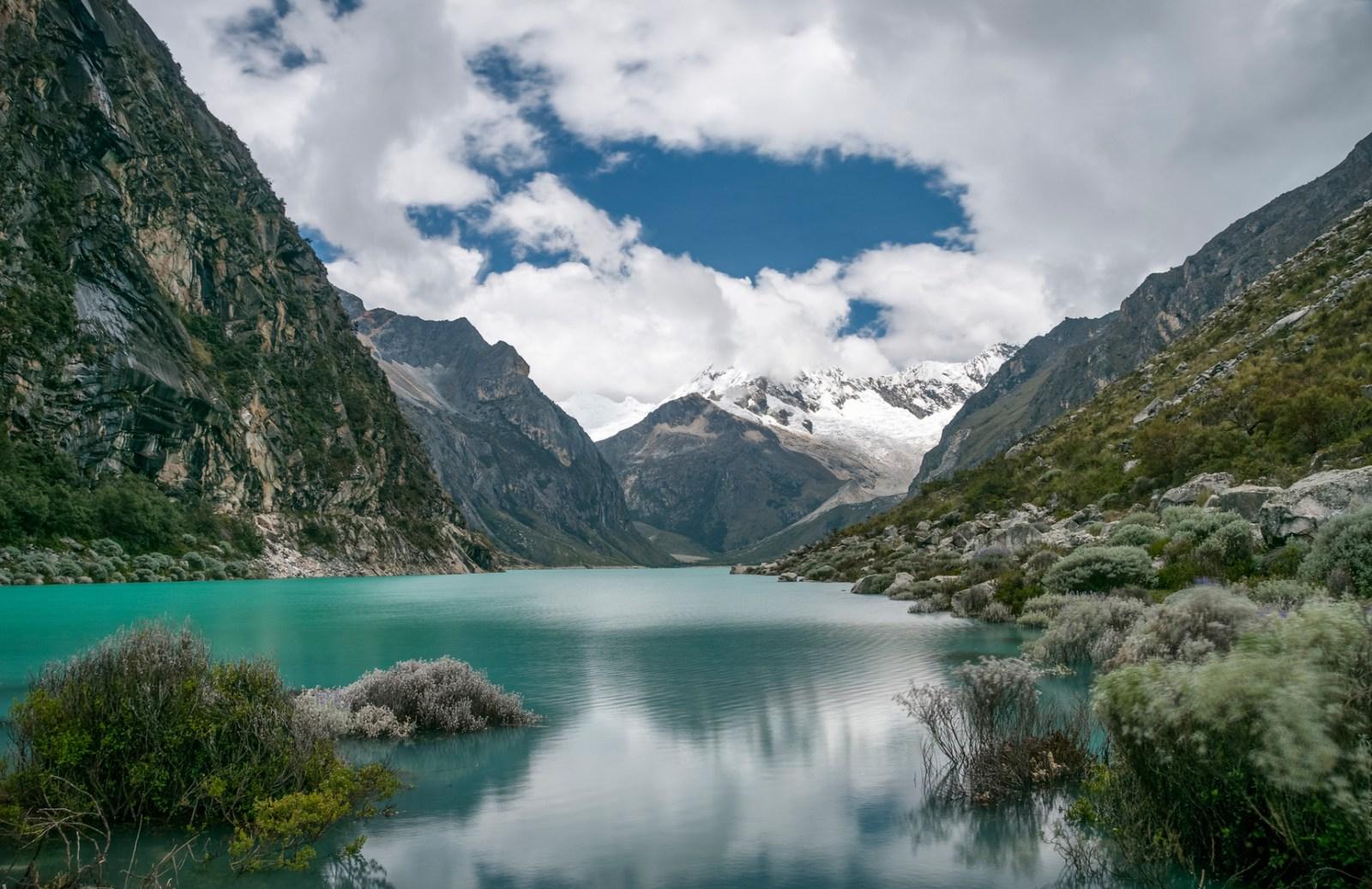 Laguna Paron And Piramide Peak In The Peruvian Andes