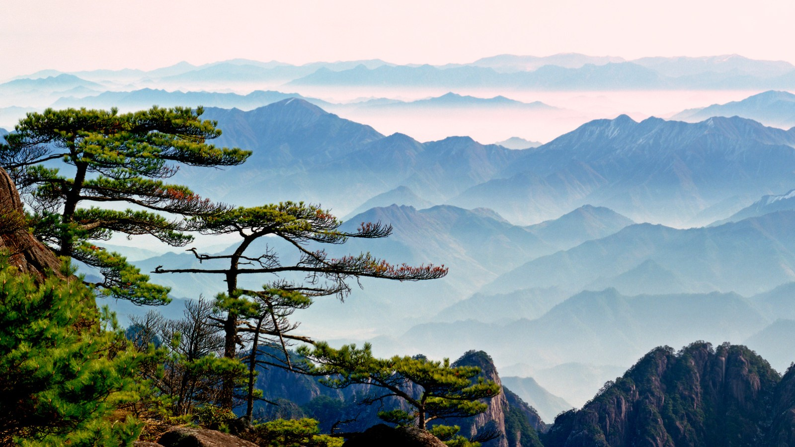 Misty mountain in China