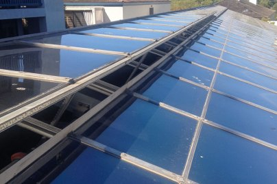 The Ickes-Braun GlassHouses operable skylight.