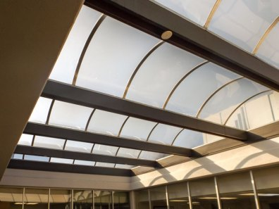 The existing barrel vault skylight from the interior.