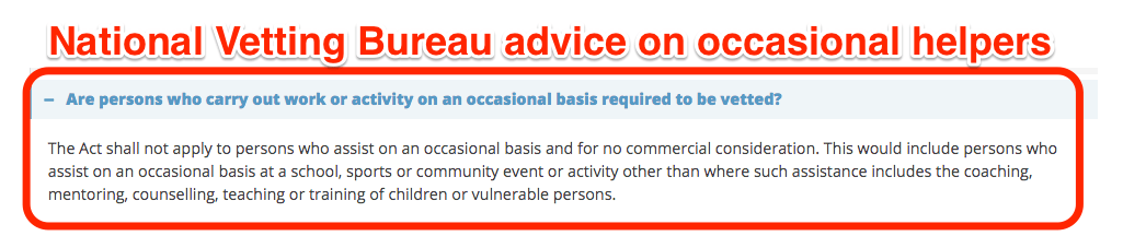 National Vetting Bureau advice on occasional helpers