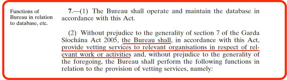 National Vetting Bureau Act - Section 7 Powers