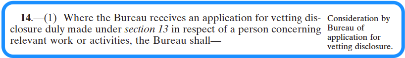How the Bureau processes an application for vetting disclosure – section 14 of the vetting legislation