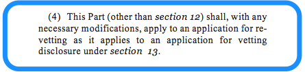 S.20 vetting legislation: re-vetting