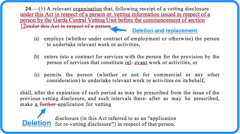 Section 20: vetting legislation