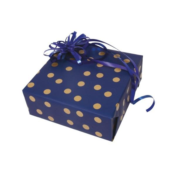 papier cadeau à pois or sur fond marine