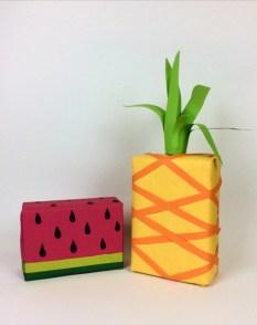paquets cadeaux pastèque et ananas